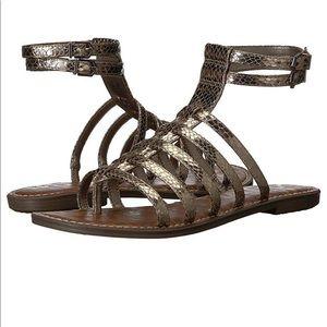 Sam Edelman Gilda Pewter Metallic Gladiator Sandal